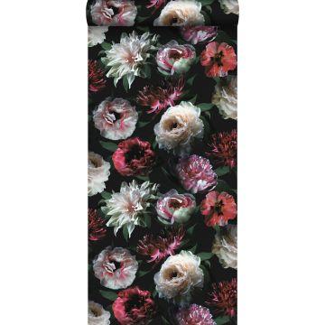 papel pintado flores rosa, negro y verde oscuro