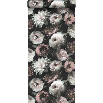 papel pintado flores negro, blanco y rosa suave