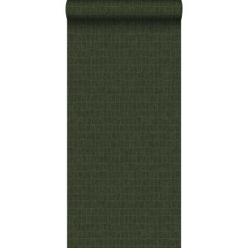 papel pintado piel de cocodrilo verde oliva agrisado
