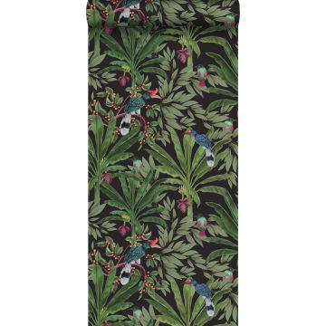 papel pintado hojas de la selva tropical negro y verde selva