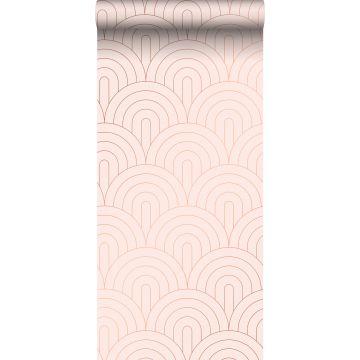 papel pintado arte deco rosa suave y oro rosa