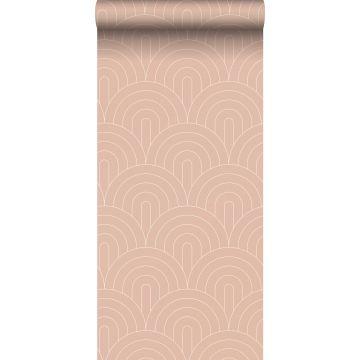 papel pintado arte deco rosa melocotón