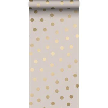 papel pintado puntos lunares rosa suave y oro