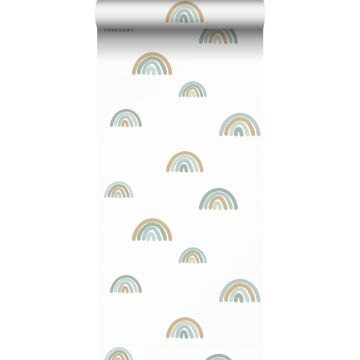 papel pintado arcoiris azul agrisado, azul claro y beige