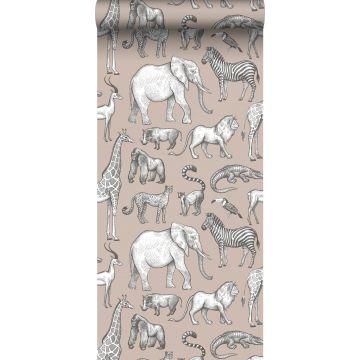 papel pintado animales de la selva rosa viejo y gris