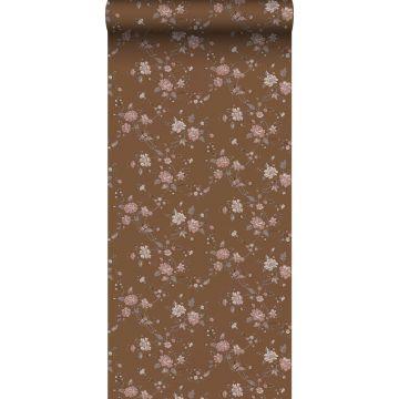 papel pintado flores marrón herrumbre y rosa