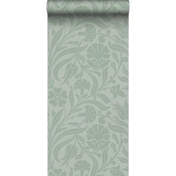 papel pintado flores verde menta agrisado
