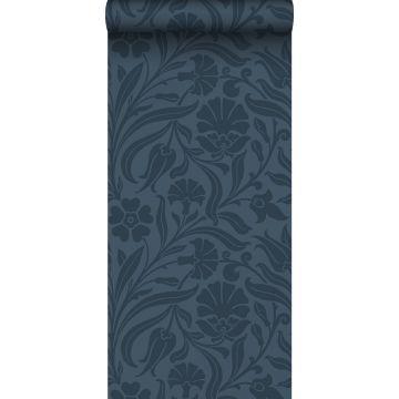 papel pintado flores azul oscuro
