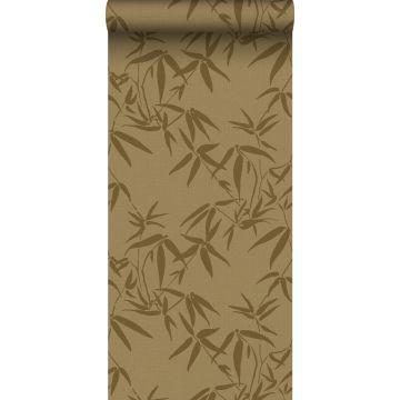 papel pintado hojas de bambú amarillo ocre