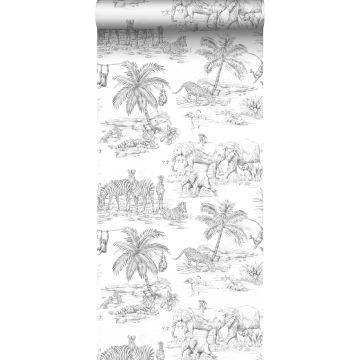 papel pintado jungla blanco y negro