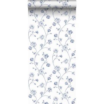 papel pintado rosas en tela de jouy blanco y azul