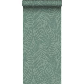 papel pintado hojas de palmera verde grisáceo