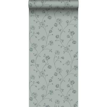 papel pintado rosas en tela de jouy verde grisáceo