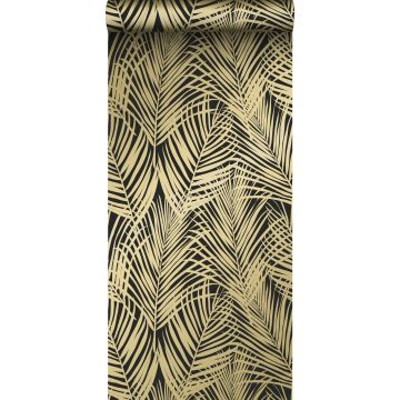 papel pintado hojas de palmera negro y oro