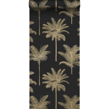 papel pintado palmeras negro y oro