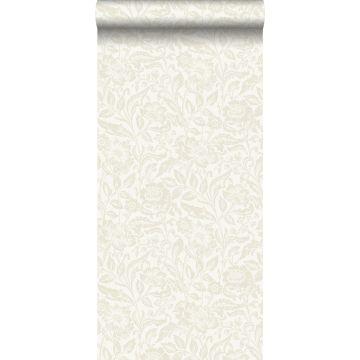 papel pintado flores beige sobre blanco
