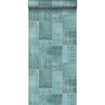 papel pintado patchwork kilim verde agua