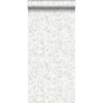 papel pintado motivo de azulejos gris claro