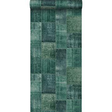 papel pintado alfombra Keilim de retazos vintage de Marrakech o de Ibiza verde esmeralda intenso