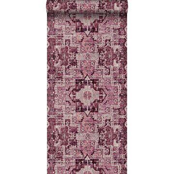 papel pintado alfombra Keilim de retazos vintage de Marrakech o de Ibiza rojo burdeos