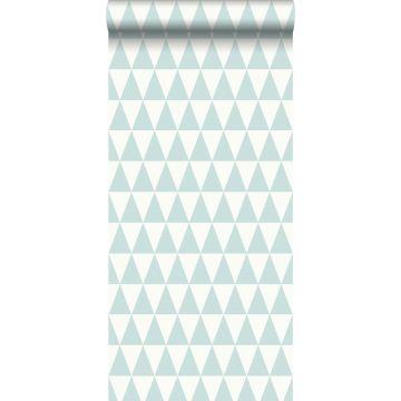 papel pintado triángulo geométrico gráfico verde menta pastel agrisado claro y blanco mate