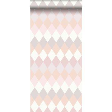 papel pintado raya horizontal de rombos diamantes con textura de lino multi color rosa melocotón y tonos de rosa lila