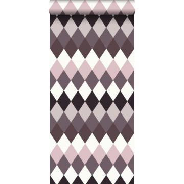 papel pintado raya horizontal de rombos diamantes con textura de lino multi color tonos de morado pardo