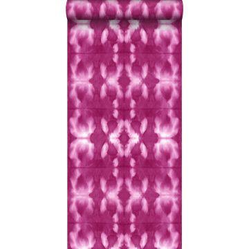 papel pintado diseño tie-dye Shibori rosa fucsia intensa
