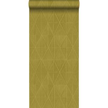 papel pintado con textura eco motivo de origami amarillo ocre