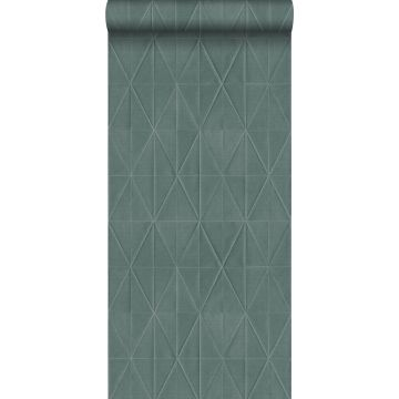 papel pintado con textura eco motivo de origami azul petroleo
