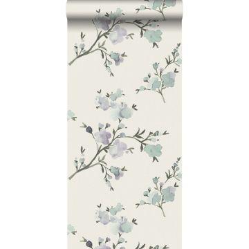 papel pintado con textura eco flores de cerezo beige y morado lila