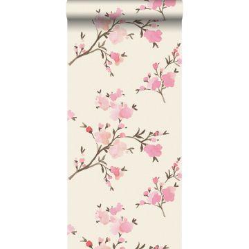 papel pintado con textura eco flores de cerezo rosa