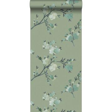 papel pintado con textura eco flores de cerezo verde