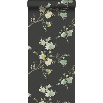 papel pintado con textura eco flores de cerezo verde, amarillo ocre y negro