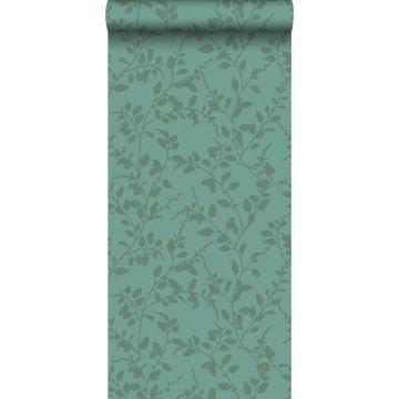 papel pintado hojas pequeñas azul petroleo