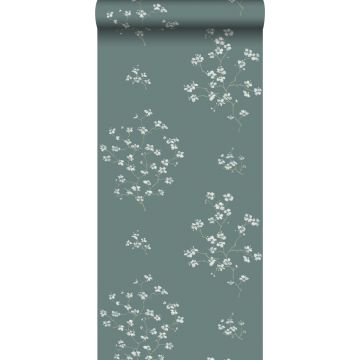 papel pintado ramas en flor verde pertróleo