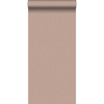 papel pintado liso efecto lino rosa claro borgoña