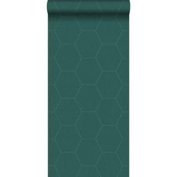 papel pintado hexágono verde pertróleo