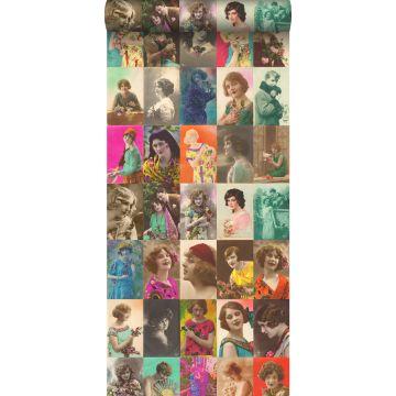 papel pintado XXL tarjetas postales vintage con caras de señoras multicolor