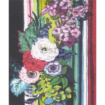 fotomural flores negro, rojo, azul, blanco y verde