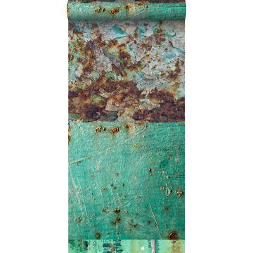 papel pintado XXL patchwork de placas de metal oxidado y envejecido verde mar y marrón