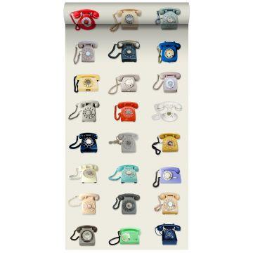 papel pintado XXL teléfonos retro beige, gris, rojo y azul