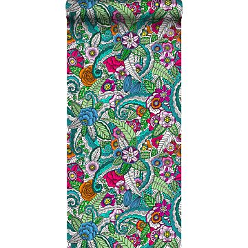 papel pintado XXL mandala flores rosa, verde, naranja, morado y azul