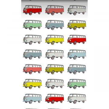 papel pintado XXL furgonetas vintage Volkswagen transporter amarillo, azul, gris, rojo y verde