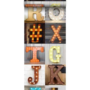 papel pintado XXL letras luminosas de madera – marquee naranja, beige, gris, rojo y azul