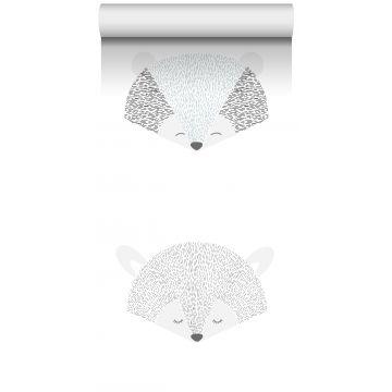 papel pintado XXL cabezas de animales gris claro y negro