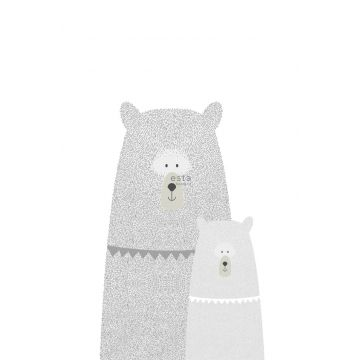 fotomural osos madre e hijo gris claro