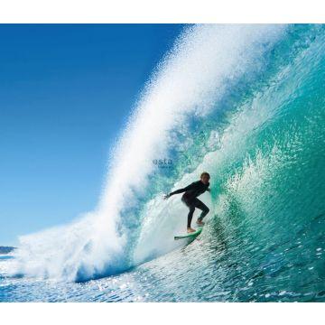 fotomural surfista azul y verde mar