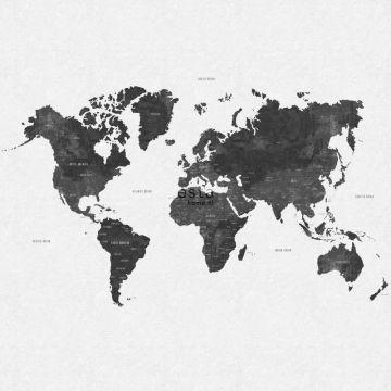 fotomural mapa del mundo vintage con textura de tejido gris negro