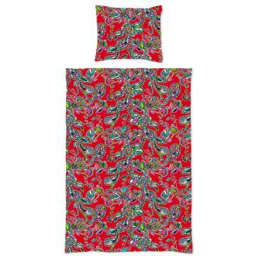juego de funda nórdica individual flores y paisleys funky rojo